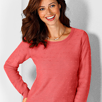 Pull Col Rond Coloris Corail