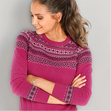 Pull Col Rond Jacquard Coloris Framboise