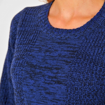 Pull long col rond maille anglaise  : Vue zoom matière