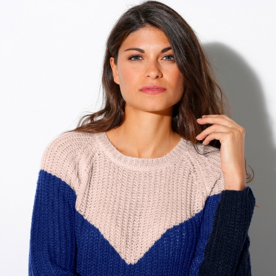 Pull col rond jacquard maille anglaise  : Vue zoom matière
