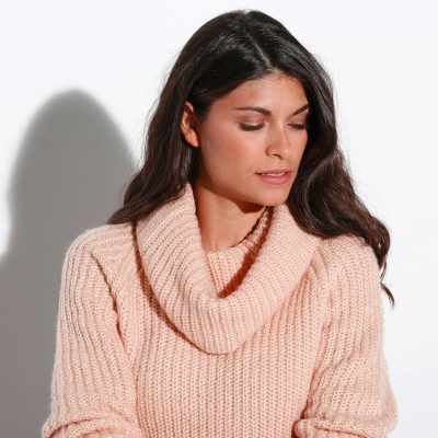 Pull col boule maille anglaise  : Vue zoom matière