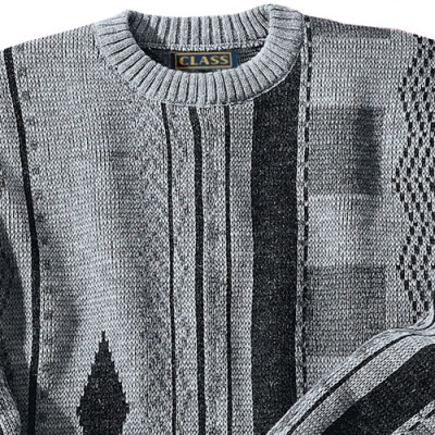 Pull jacquard col rond laine  : Vue zoom matière