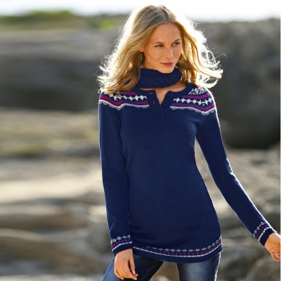Pull jacquard manches longues