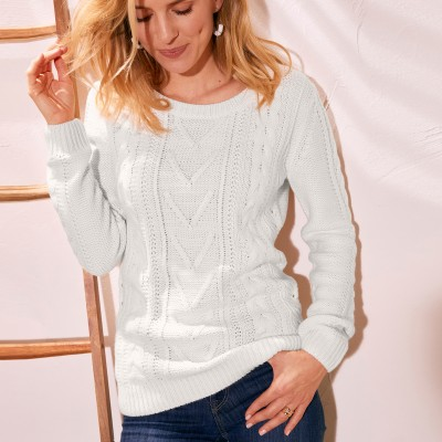 Pull long col rond maille anglaise