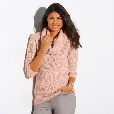 Pull col boule maille anglaise