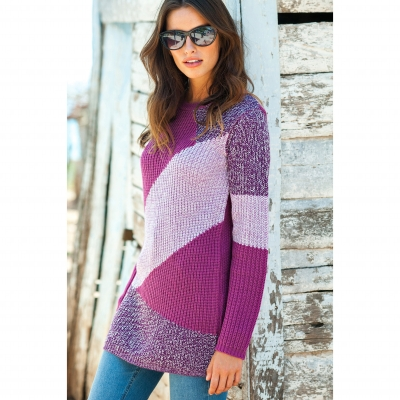 Pull patchwork col rond : Vue catalogue