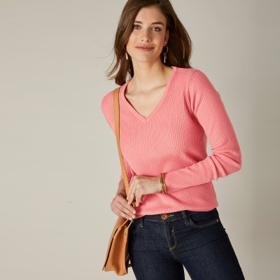 Pull maille chaussette col V uni