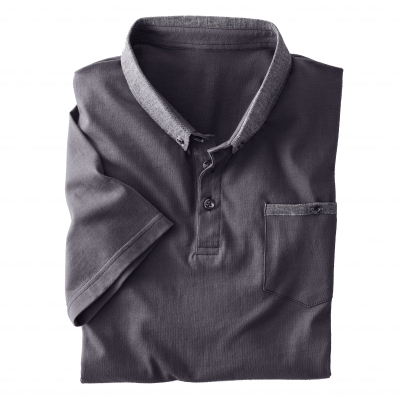 Polo manches courtes jersey col chambray