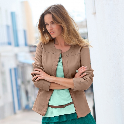 Blouson col rond Taupe: Vue 1