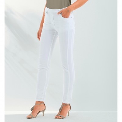Pantalon stretch coutures affinantes Blanc: Vue 1