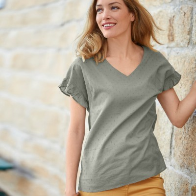 Blouse chambray manches courtes