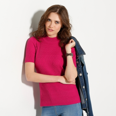Pull col montant manches courtes Fuchsia: Vue 1