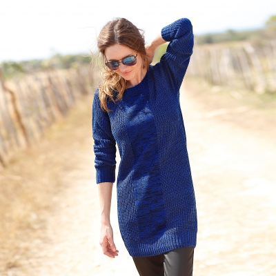 Pull long col rond maille anglaise  : Vue 1