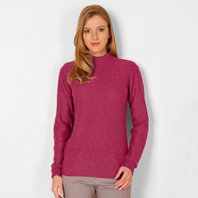 Pull col montant maille fantaisie  : Vue 1