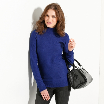 Pull col montant maille fantaisie Bleu: Vue 1
