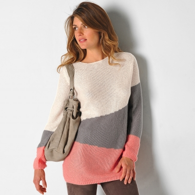 Pull graphique Taupe / corail: Vue 1