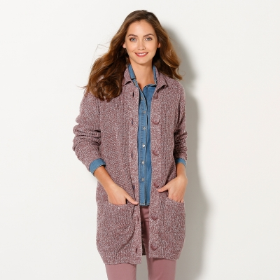 Gilet maille anglaise Taupe chiné: Vue 1
