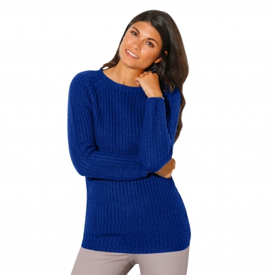 Pull col rond maille anglaise Bleu dur: Vue 1
