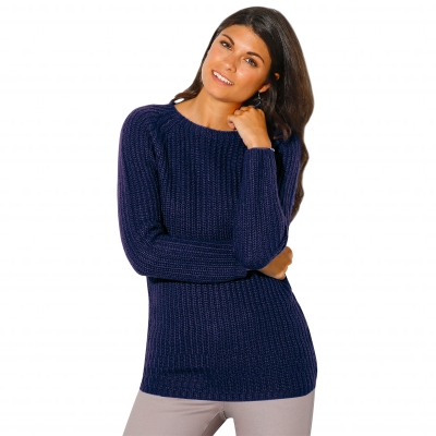 Pull col rond maille anglaise Marine: Vue 1