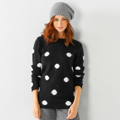 Pull pois maille douceur