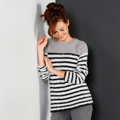 Pull rayé maille douceur  : Vue 1
