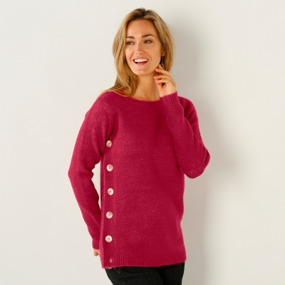 Pull boutonné col rond Framboise: Vue 1