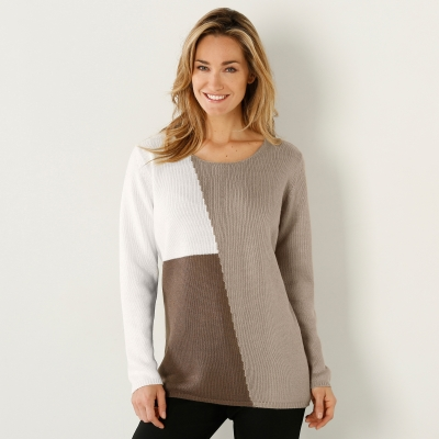 Pull color block Taupe / beige: Vue 1