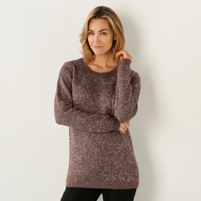 Pull chiné col rond 20% laine Taupe chiné: Vue 1