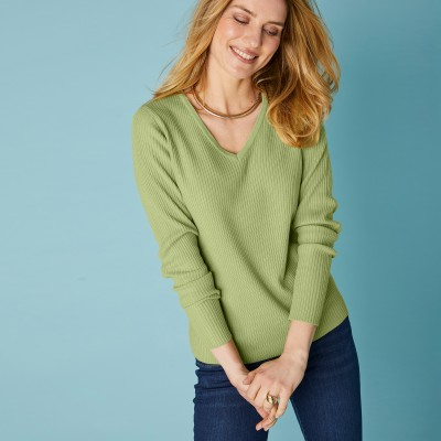 Pull maille chaussette col V uni  : Vue 1
