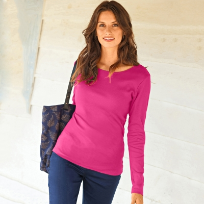 Tee-shirt col rond manches longues Framboise: Vue 1
