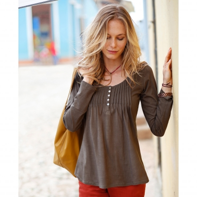 Tee-shirt boutonné manches longues Taupe: Vue 1