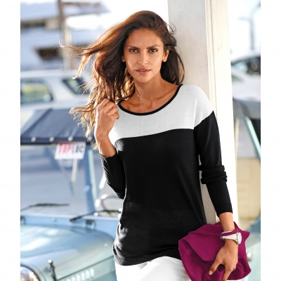 Pull bicolore manches longues  : Vue 1