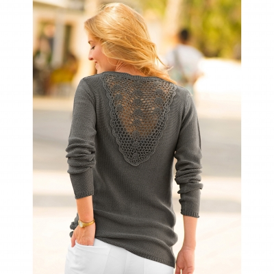 Pull macramé dos Taupe: Vue 1