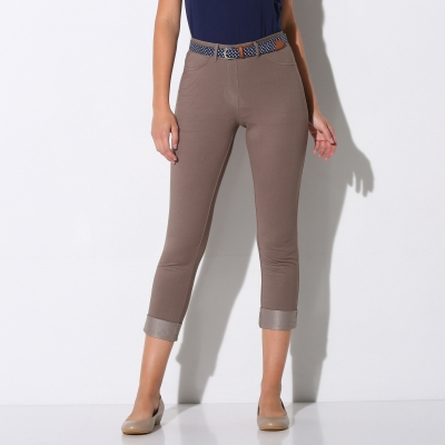 Pantacourt maille jean extensible Taupe: Vue 1
