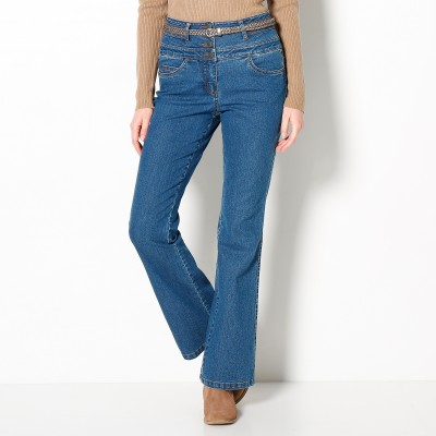Jean taille haute bootcut petite stature Stone: Vue 1