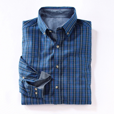 Chemise carreaux fintions en chambray
