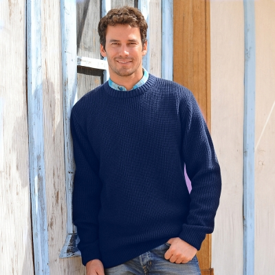 Pull manches longues maille anglaise col rond  : Vue 1
