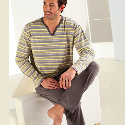 Pyjama homme rayé manches longues