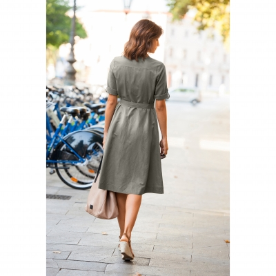 Robe chemisier coton lin Taupe: Vue 2