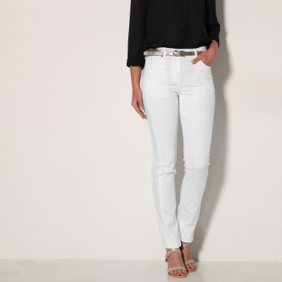 Pantalon stretch coutures affinantes Blanc: Vue 2