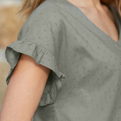 Blouse chambray manches courtes  : Vue 2
