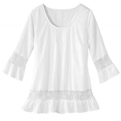 Blouse manches 3/4 tulle brodé  : Vue 2
