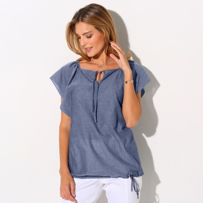 Blouse chambray manches courtes Chambray blue: Vue 2