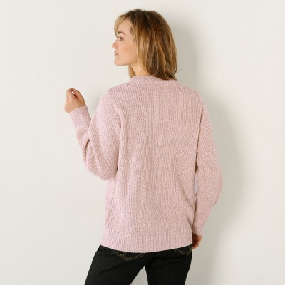 Pull col rond maille anglaise Écru chiné: Vue 2
