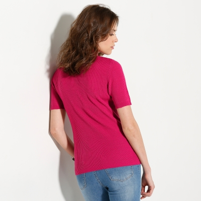 Pull col montant manches courtes Fuchsia: Vue 2