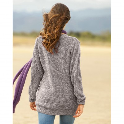 Pull col V maille anglaise Gris chiné: Vue 2