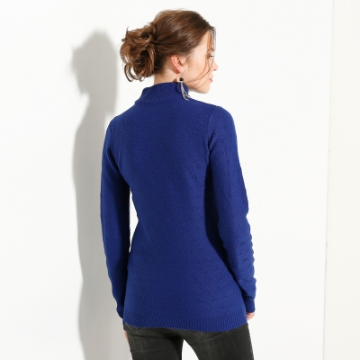 Pull col montant maille fantaisie Bleu: Vue 2
