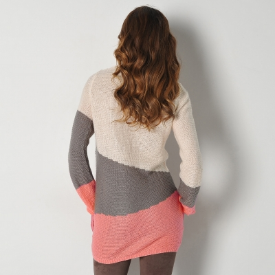 Pull graphique Taupe / corail: Vue 2