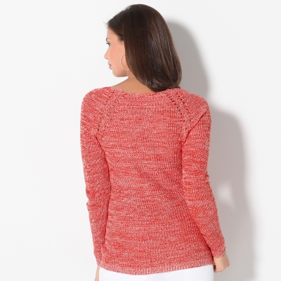Pull maille anglaise chinée col V  : Vue 2