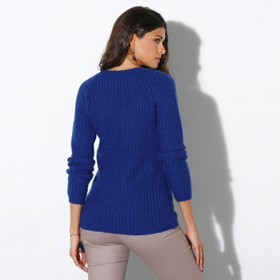 Pull col rond maille anglaise Bleu dur: Vue 2